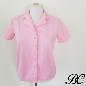 Vintage Top Shirt Button Up Pink White Stripes